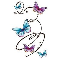 Butterfly Swirls Large Temporary Tattoo