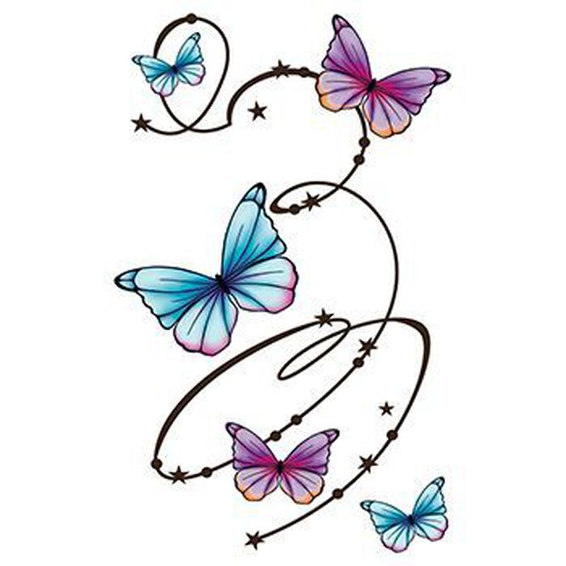 Butterfly Swirls Large Temporary Tattoo image number null