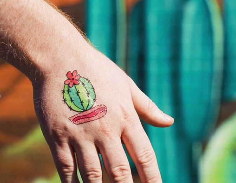 Barrel Cactus in Pink Pot Temporary Tattoo image number null