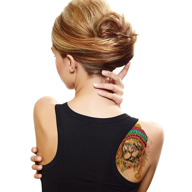 Hipster Watercolor Lion Temporary Tattoo image number null