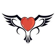 Heart Flying with Wings Temporary Tattoo