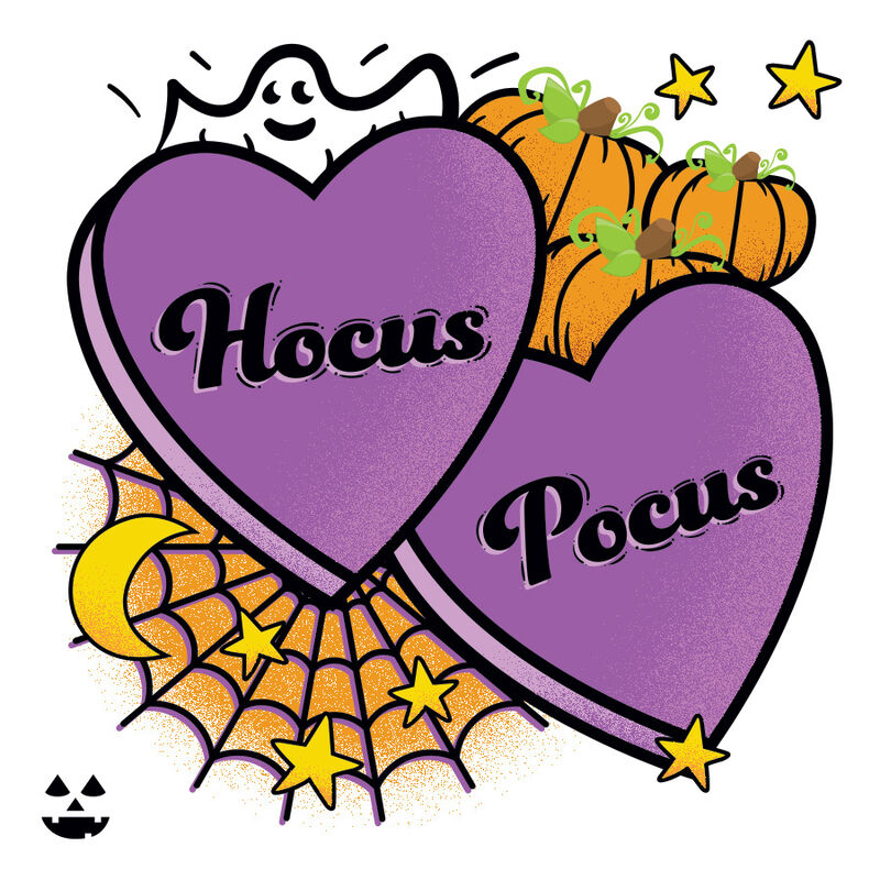 Hocus Pocus Halloween Conversation Heart Temporary Tattoo image number null