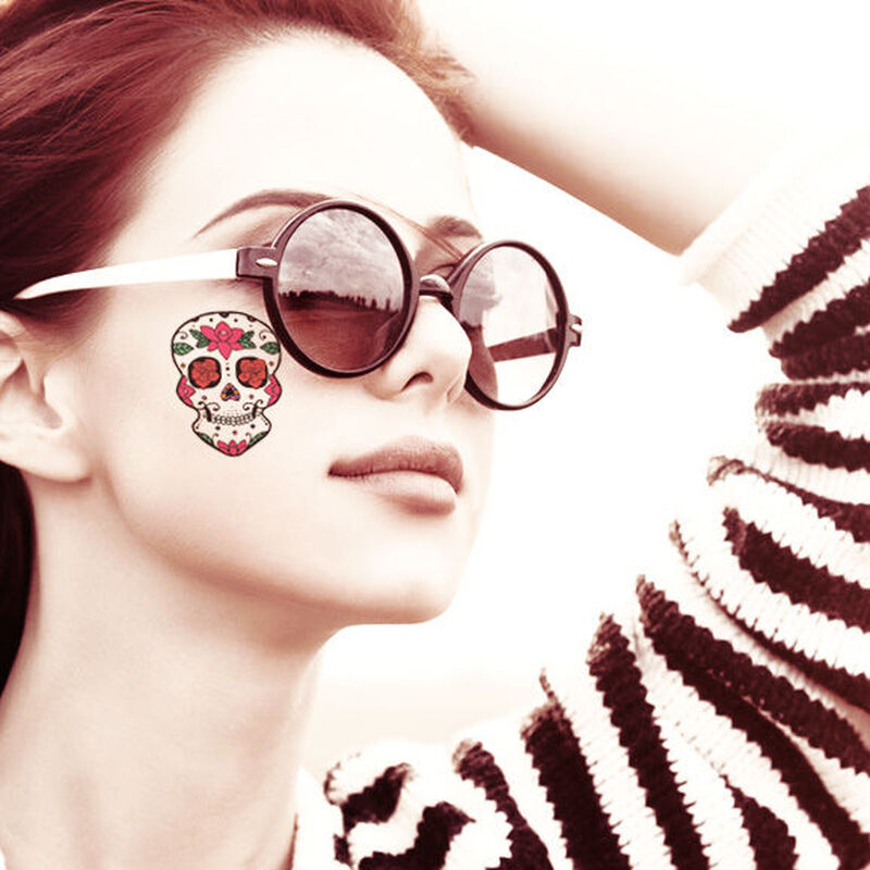 Roses Skull Day of the Dead Temporary Tattoo image number null
