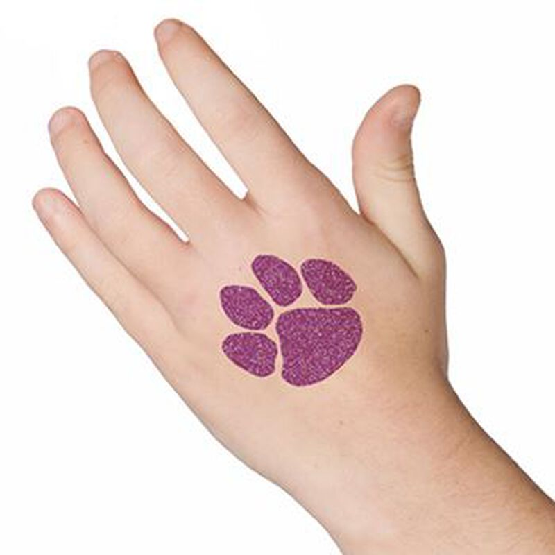 Glitter Purple Paw Print Temporary Tattoo image number null