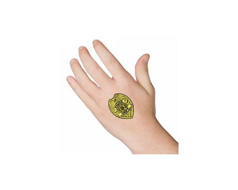 Gold Police Badge Temporary Tattoo image number null