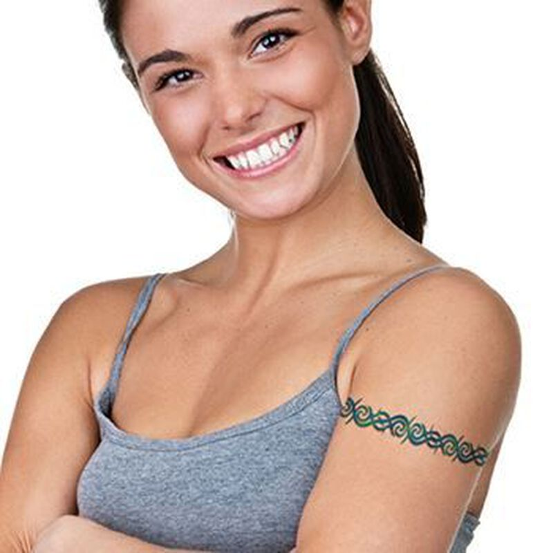 Blue Tribal Band Temporary Tattoo image number null