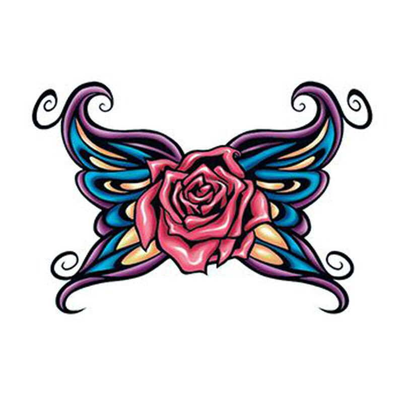 Rose with Tribal Wings Temporary Tattoo image number null