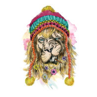 Small Hipster Watercolor Lion Temporary Tattoo