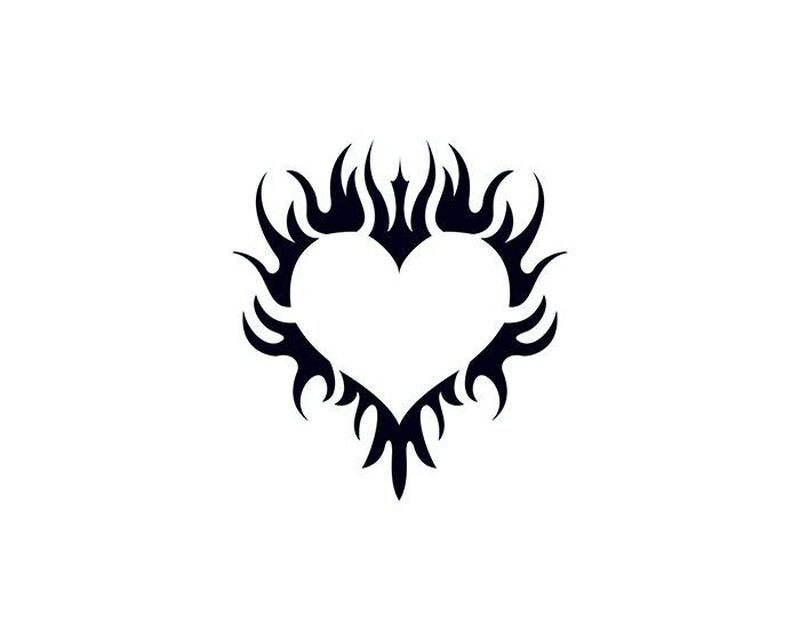 Glow in the Dark Flaming Heart Temporary Tattoo image number null