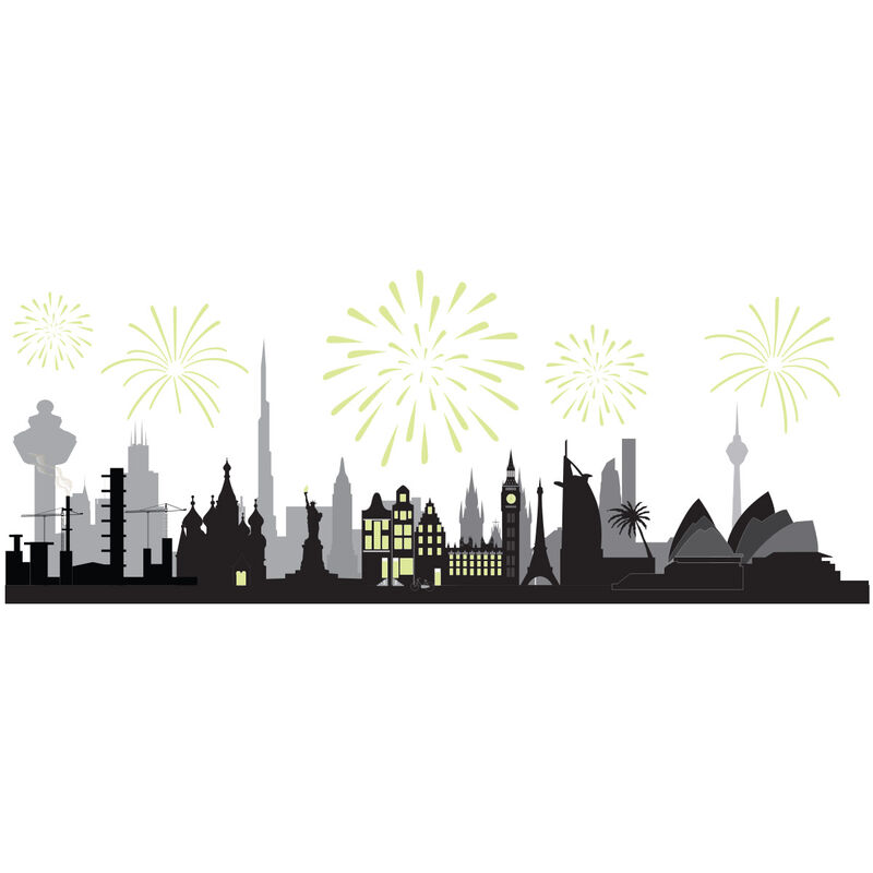 City Scape with Reveal Glow-in-the-dark Fireworks Temporary Tattoo image number null