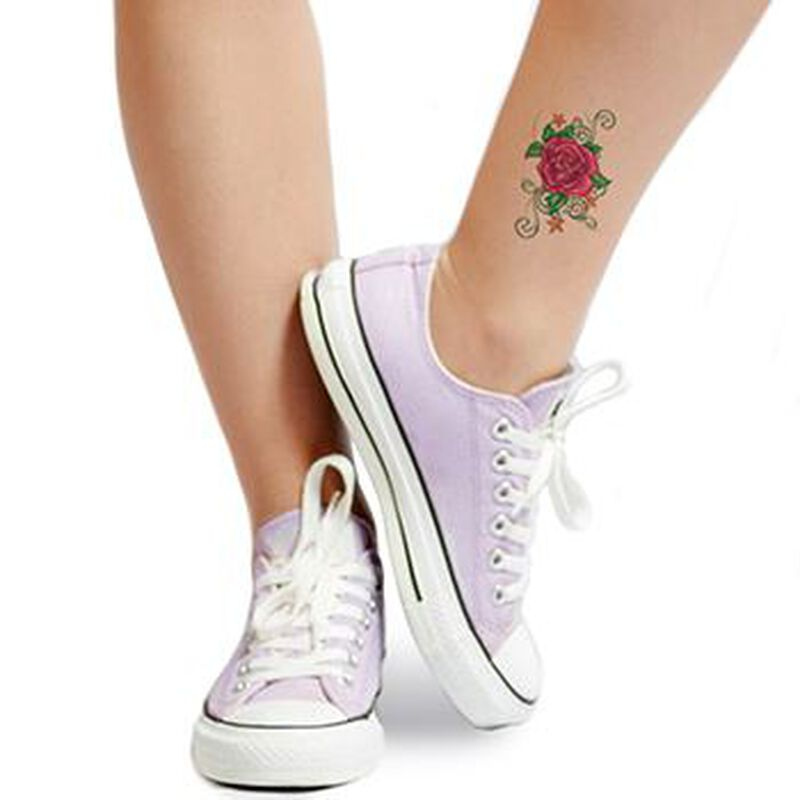 Flirty Rose with Stars Temporary Tattoo image number null
