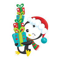 Penguin with Stack of Presents Temporary Tattoo