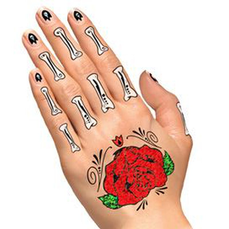 Glitter Day of the Dead Red Rose Hands Temporary Tattoo image number null