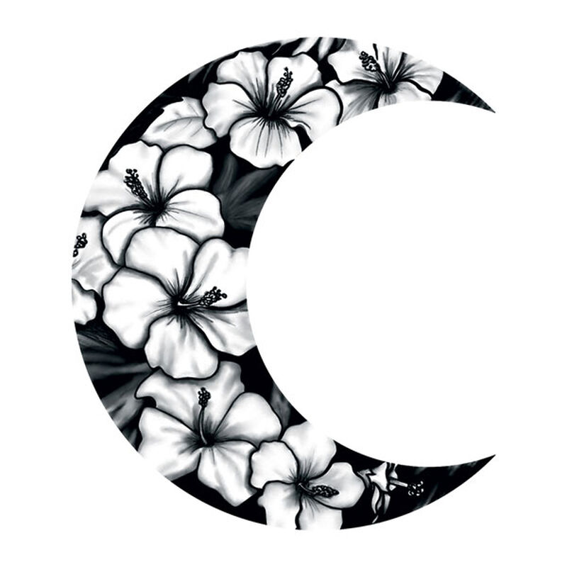 Floral Crescent Moon Temporary Tattoo image number null