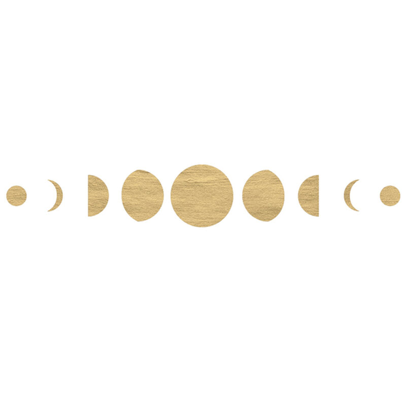 Metallic Gold Moon Phases Festival Temporary Tattoo image number null