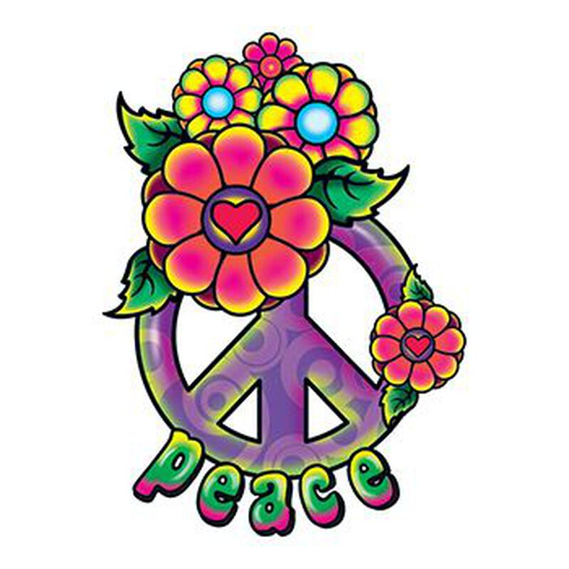 Hippie Peace Sign Temporary Tattoo image number null