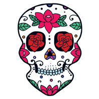 Roses Skull Day of the Dead Temporary Tattoo