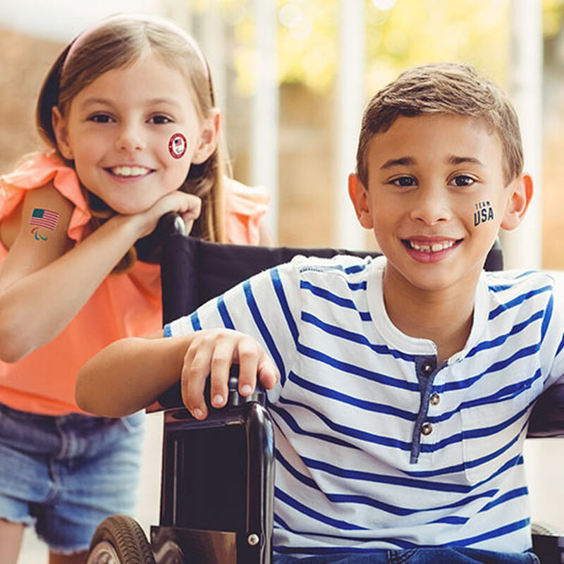 children wearing team usa paralympics tattoos image number null