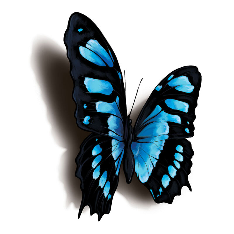 Black and Blue 3D Butterfly Temporary Tattoo image number null