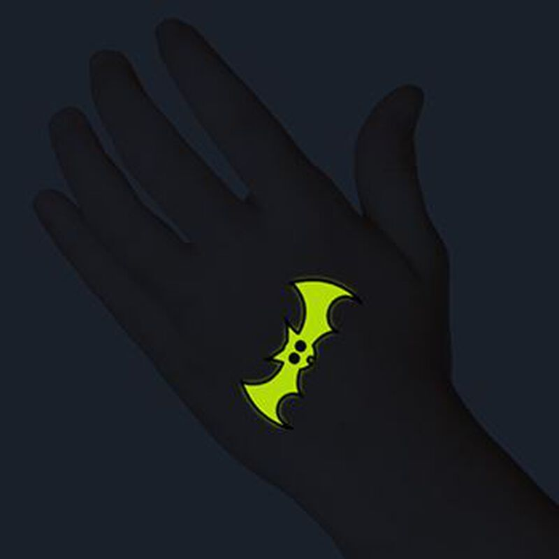 Glow in the Dark Black Bat Temporary Tattoo image number null