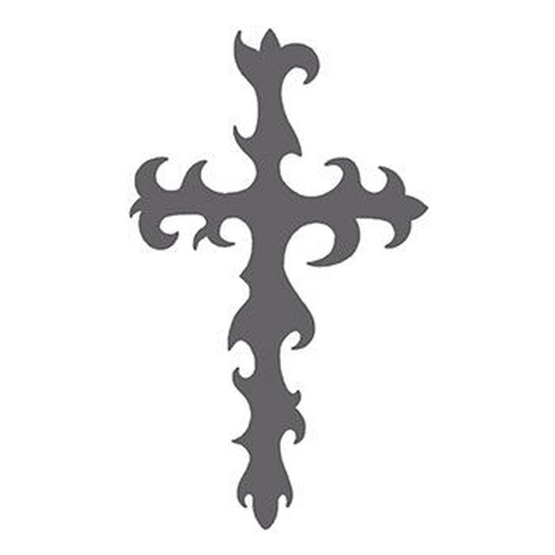 Tribal Gray Cross Design Temporary Tattoo image number null