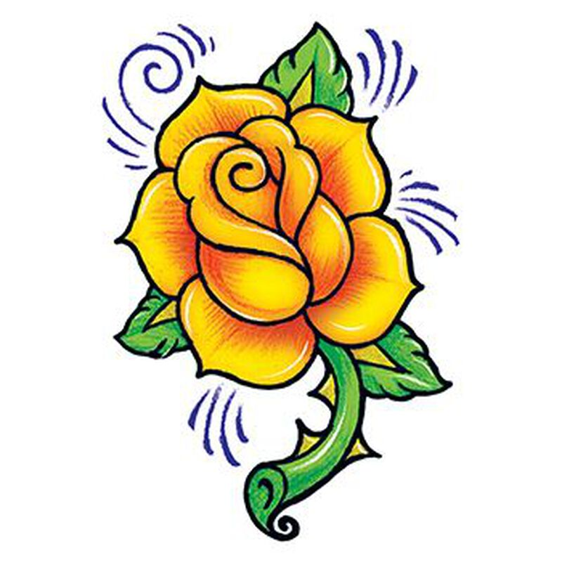 Vintage Yellow Rose Temporary Tattoo image number null