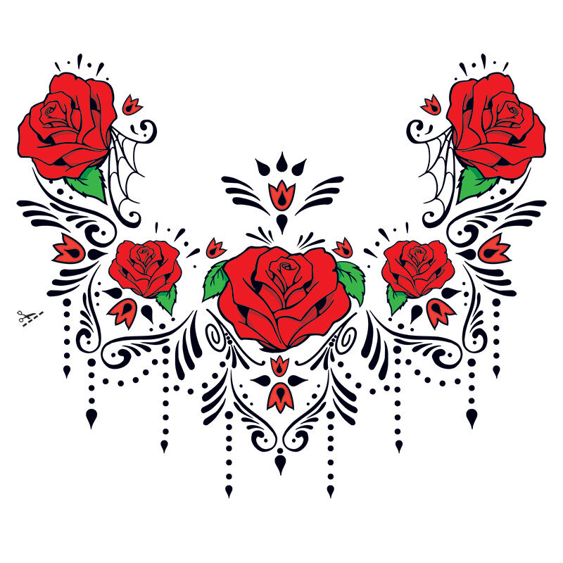 Red Rose Sugar Skull Chest Accessory Costume Tattoo image number null