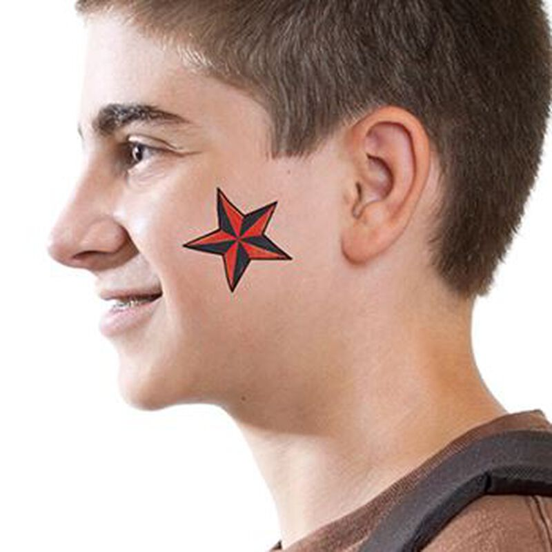 Red Nautical Star Temporary Tattoo image number null