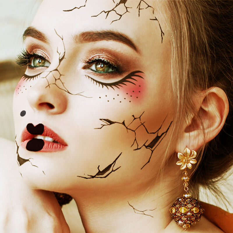 Cracked Doll Face Costume Temporary Tattoo image number null