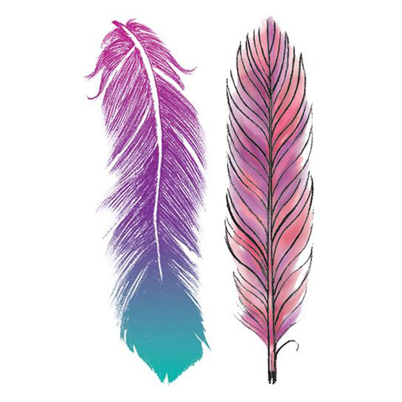 Pastel Feathers Temporary Tattoo image number null