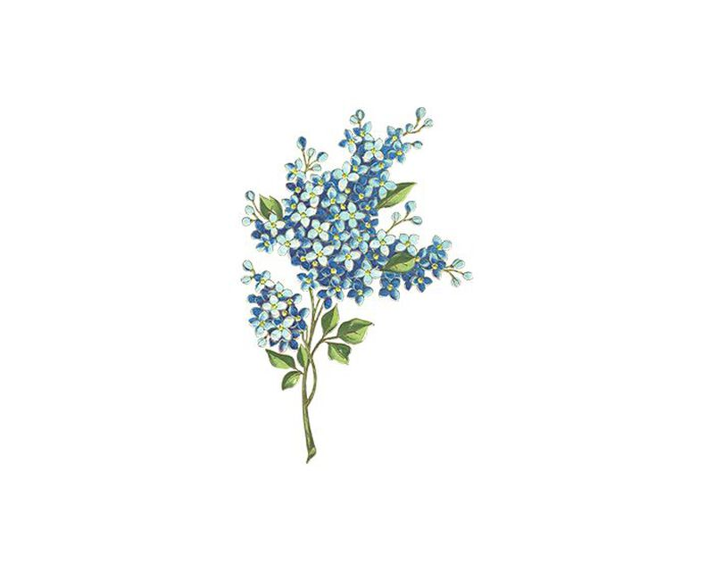 Blue Flowers Floral Temporary Tattoo image number null