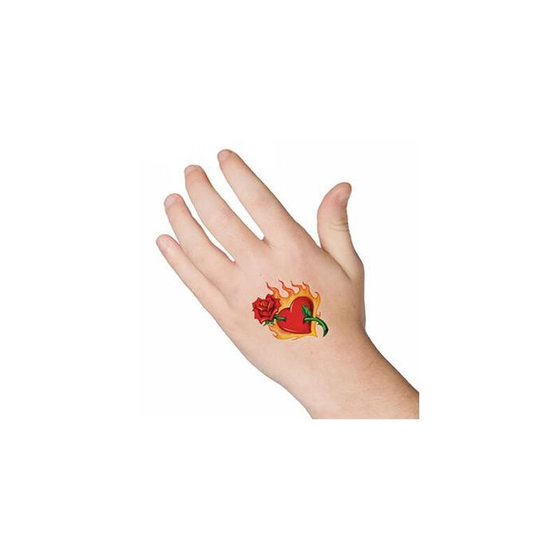 Flaming Heart Temporary Tattoo image number null
