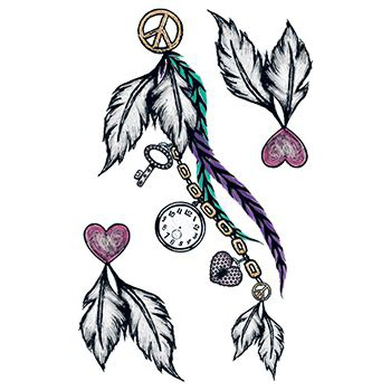Peace and Feathers Large Temporary Tattoo Set image number null