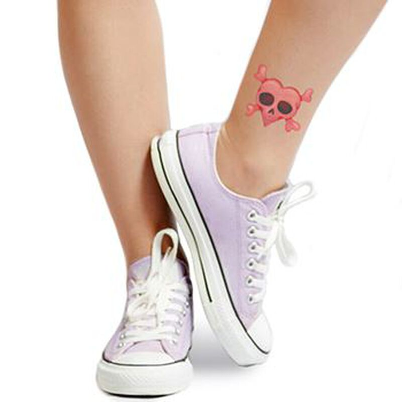 Heart Skull and Crossbones Temporary Tattoo image number null
