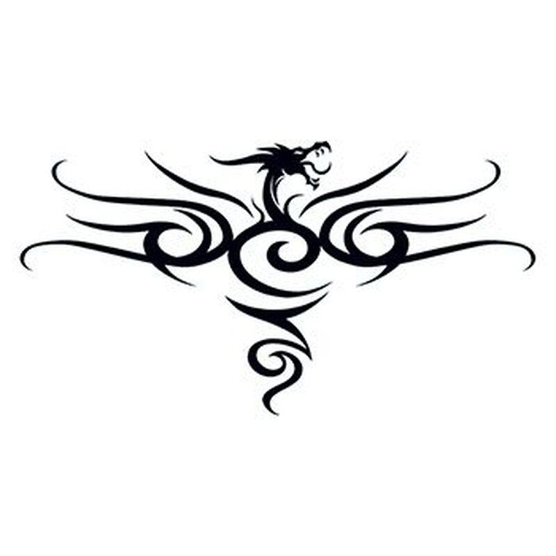 Tribal Black Dragon Back Temporary Tattoo image number null