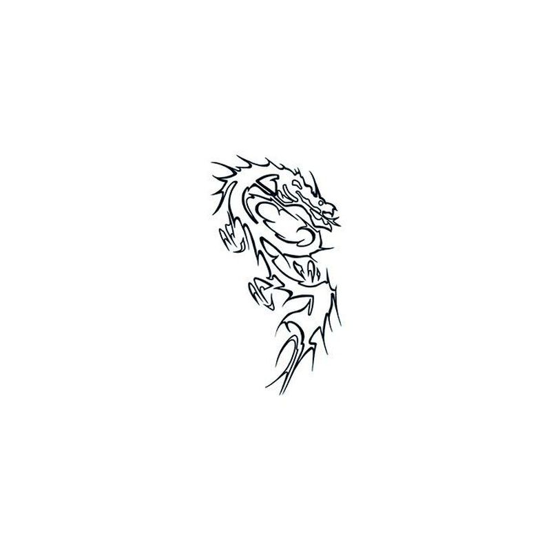 Glow in the Dark Black Dragon Temporary Tattoo image number null