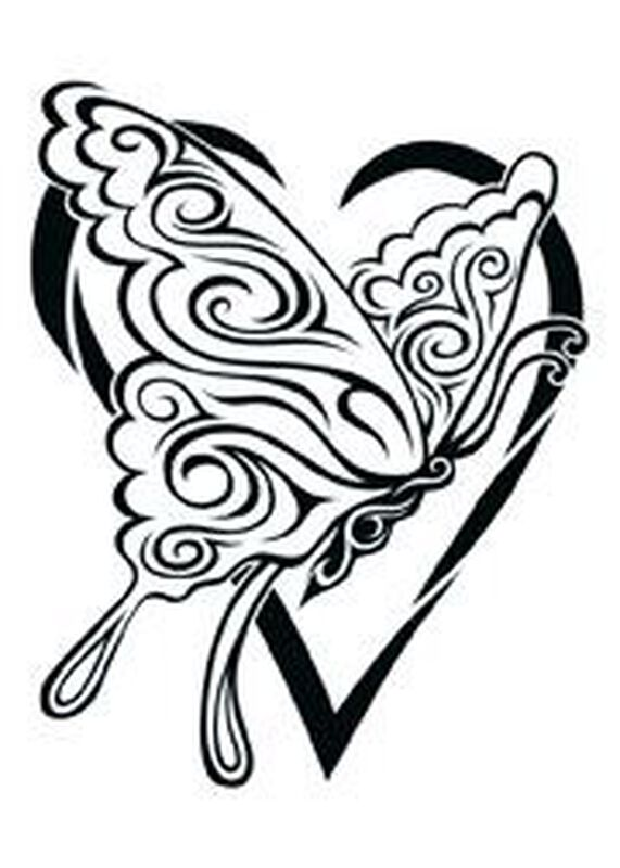Tribal Butterfly Heart Temporary Tattoo image number null