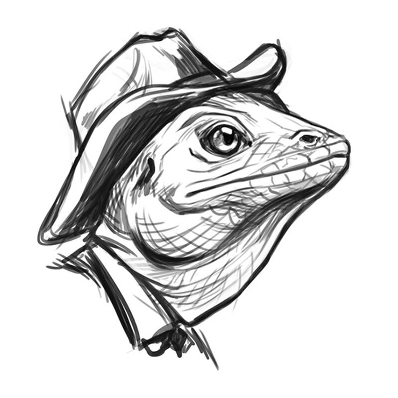 Cowboy Lizard Black Temporary Tattoo image number null