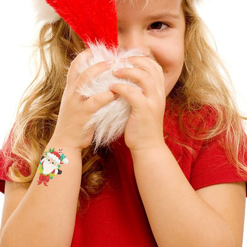 Jolly Santa with Bow Temporary Tattoo image number null