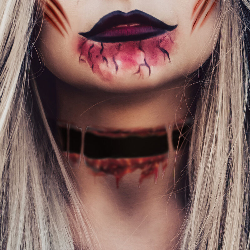 Ripped Neck Costume Tattoo image number null