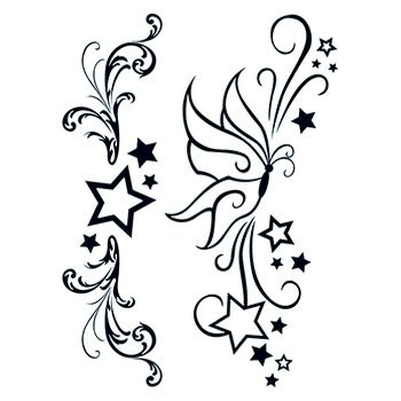 Fashion: Modern Stars & Butterfly Temporary Tattoos image number null