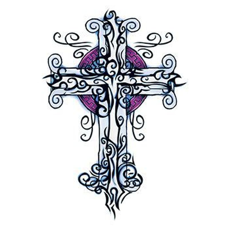 Wicked Midnight Cross Temporary Tattoo image number null