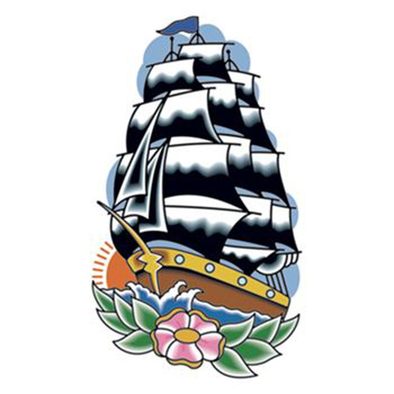 Vintage Sailing Ship Temporary Tattoo image number null