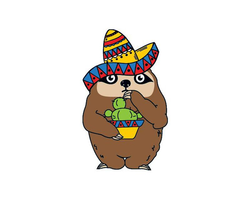 Fiesta Sloth Temporary Tattoo image number null