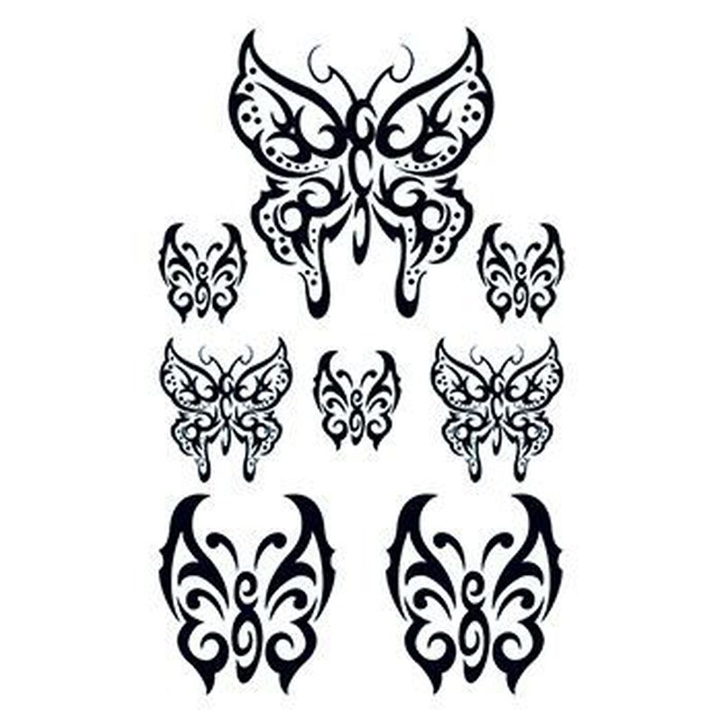 Set of Tribal Butterfly Temporary Tattoos image number null