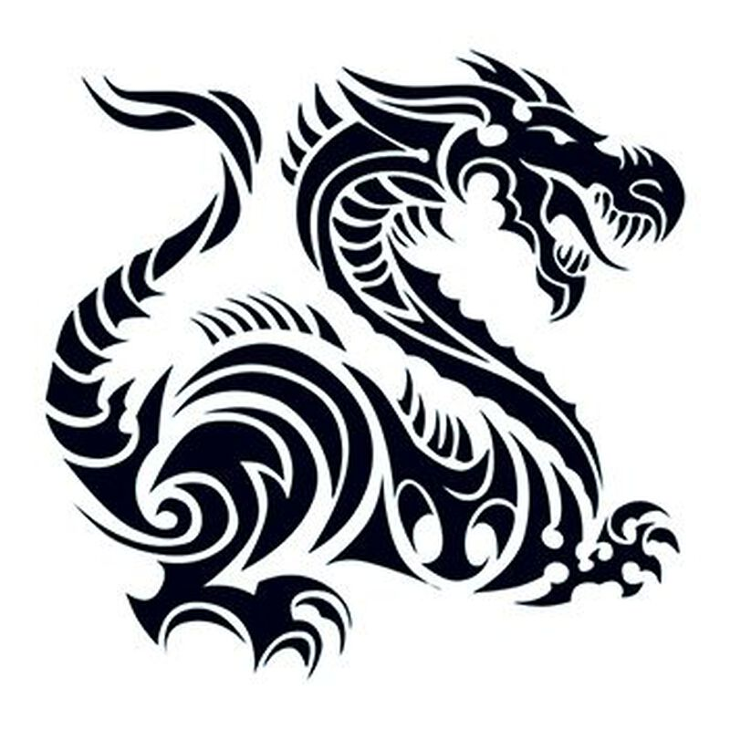 tribal dragon tattoo temporary image number null