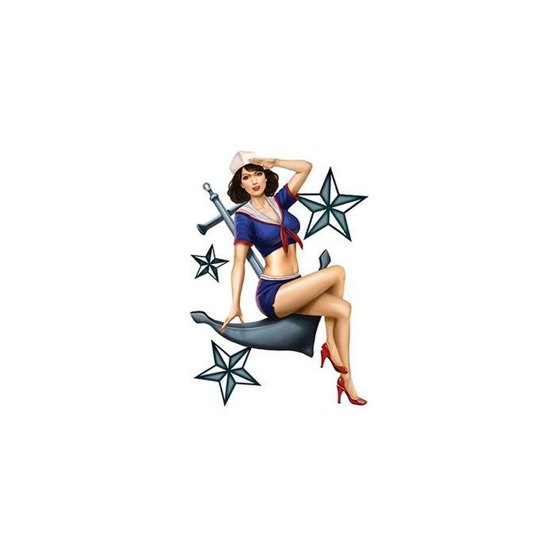 Sailor Pin-up Girl Temporary Tattoo image number null