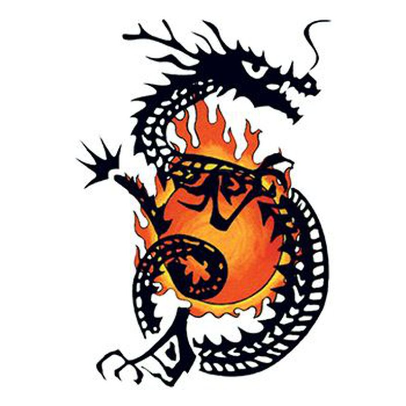 Traditional Flaming Dragon Temporary Tattoo image number null