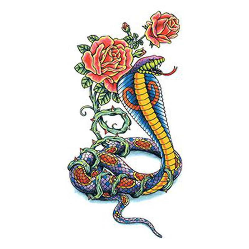 Traditional Cobra with Flowers Temporary Tattoo image number null