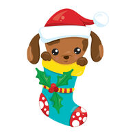 Puppy in a Stocking Temporary Tattoo